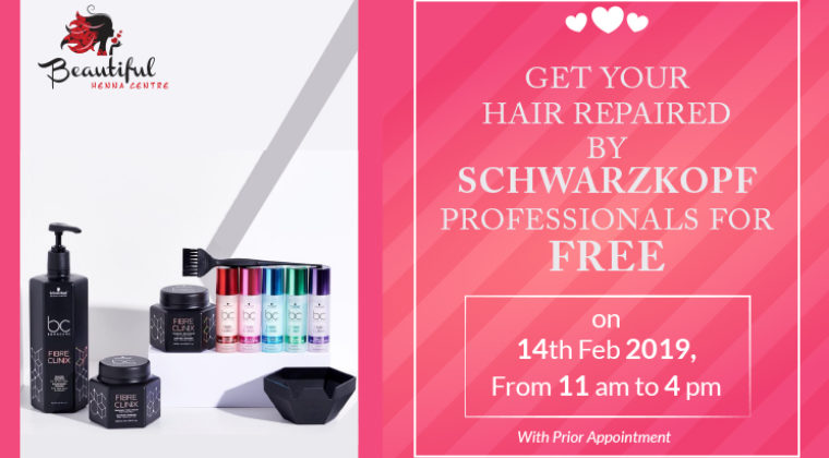 Enjoy a free hair repair session by Schwarzkopf Professionals on Valentine's Day