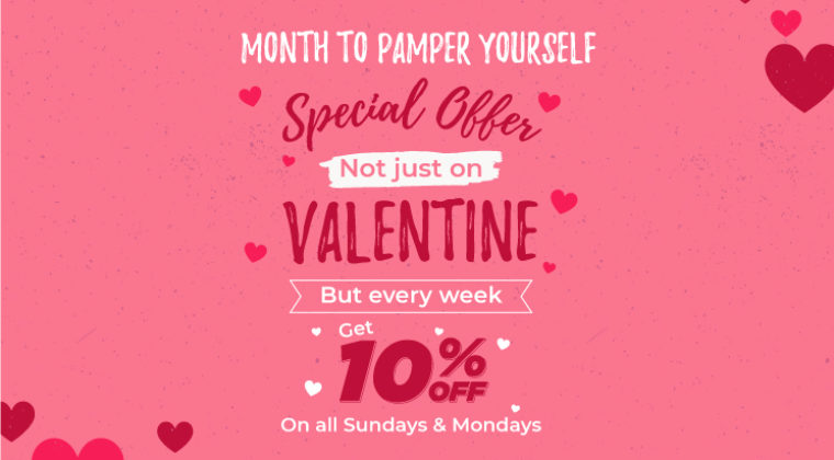 Not Just Valentine Day Offer – Get 10% Off on all Sundays & Mondays